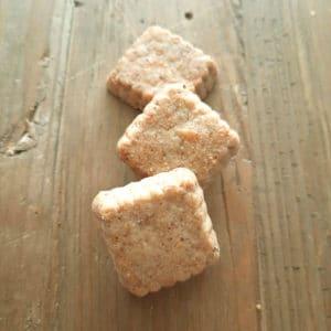 Biologisch gezouten koekje met kaas en roze bessen